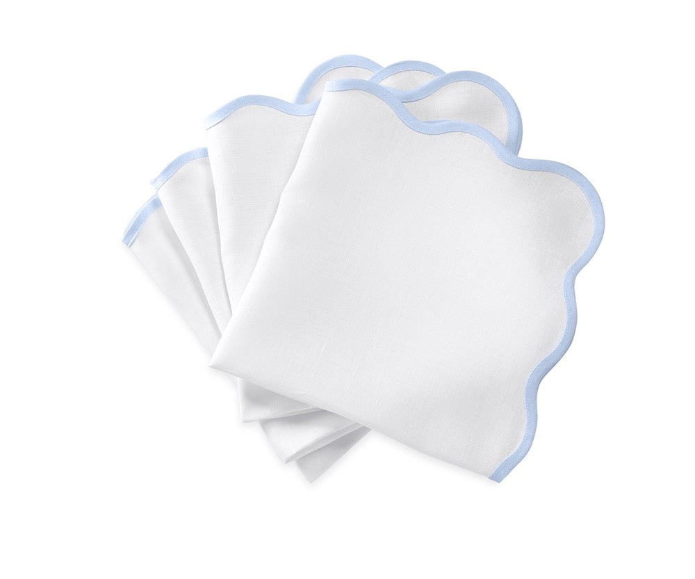 Matouk Napkins | Casual Couture Scallop Napkin in Ice Blue