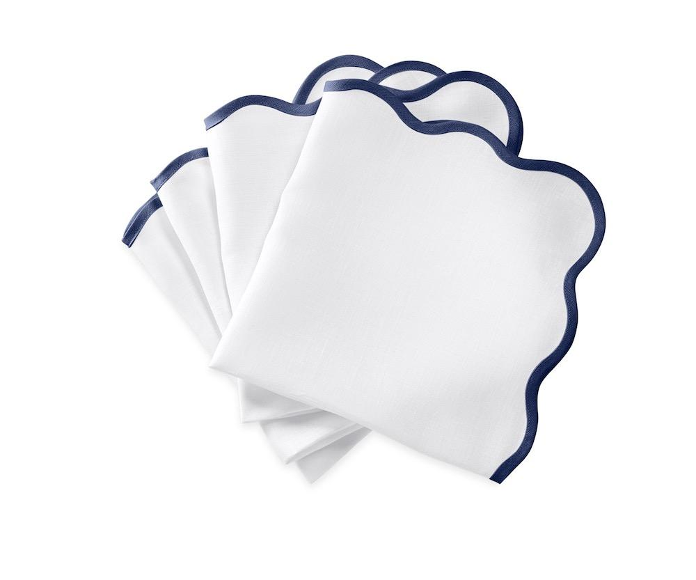 Matouk Napkins | Casual Couture Scallop Napkin in Sapphire Blue