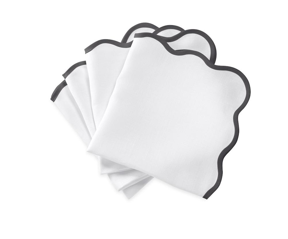 Matouk Napkins | Casual Couture Scallop Napkin in Smoke Grey