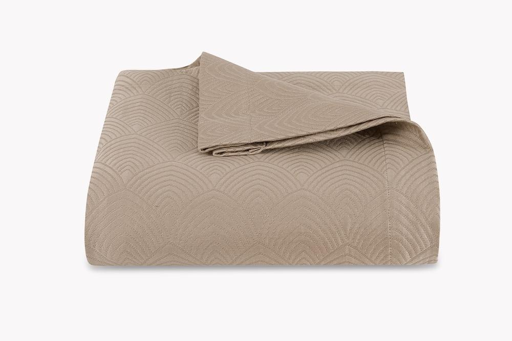 Brocatelle Khaki Coverlet by Matouk Schumacher | Fig Linens