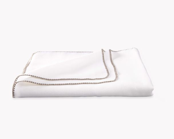 White and Stone Calypso Tablecloths by Matouk - Fig Linens and Home