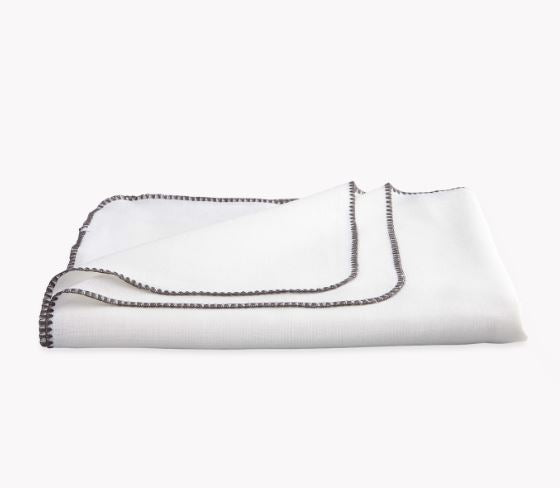 White and Charcoal Calypso Tablecloths by Matouk - Fig Linens and Home