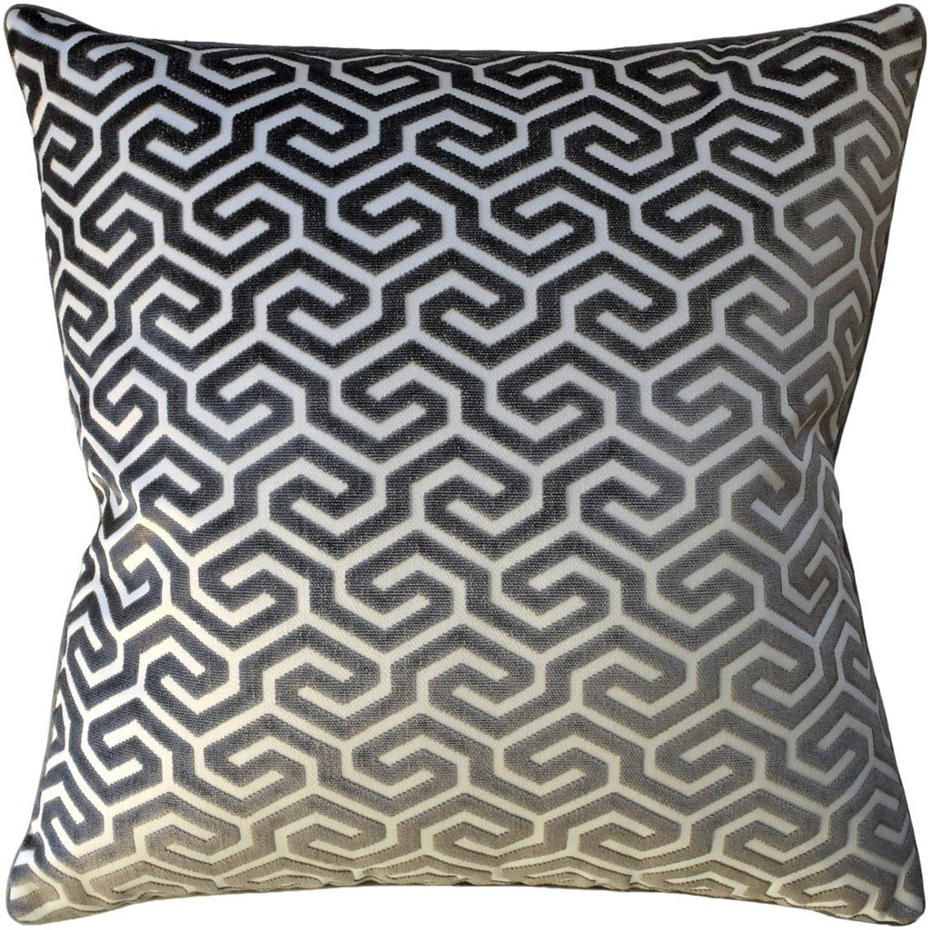 Ming Fret Velvet Taupe Pillow