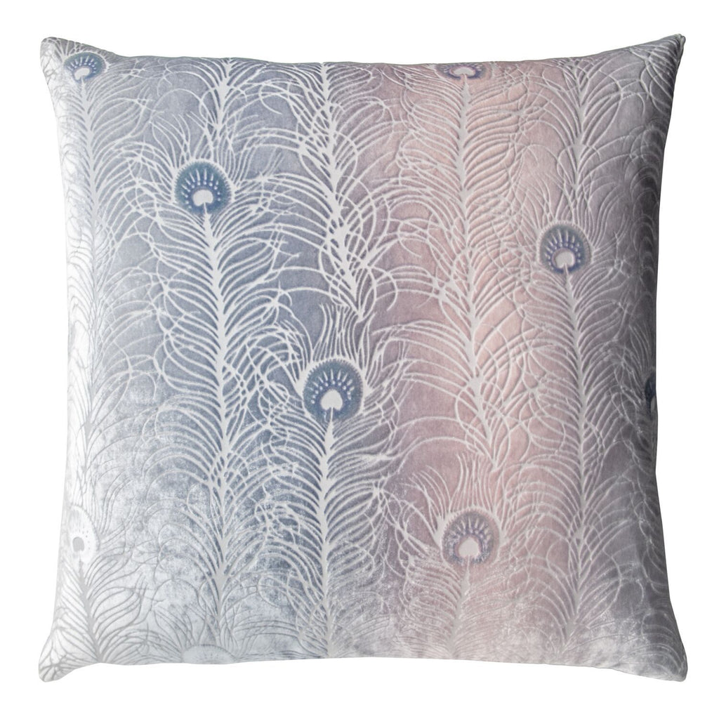 Fig Linens - Moonstone Peacock Feather Decorative Pillow by Kevin O'Brien Studio