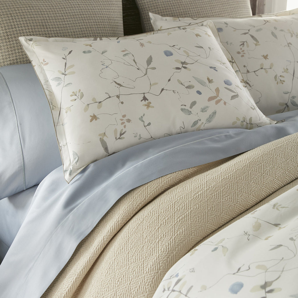Avery Percale Duvets and Shams by Peacock Alley - Made with Blue & Tan Bedding