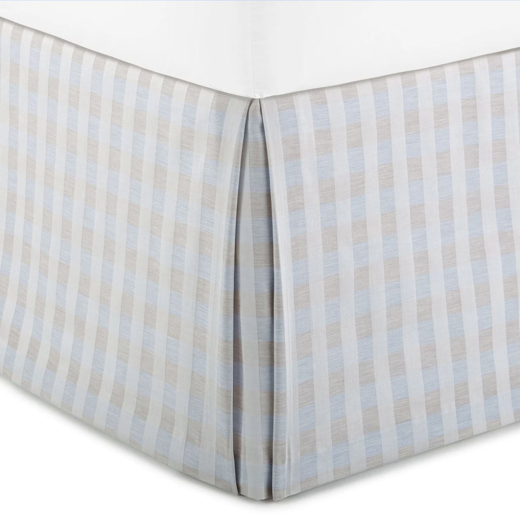 Prescott Blue Plaid Bedskirt | Peacock Alley at Fig Linens