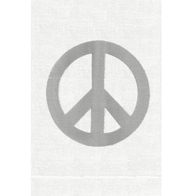 Silver Peace Sign Linen Guest Towels | Fig Linens