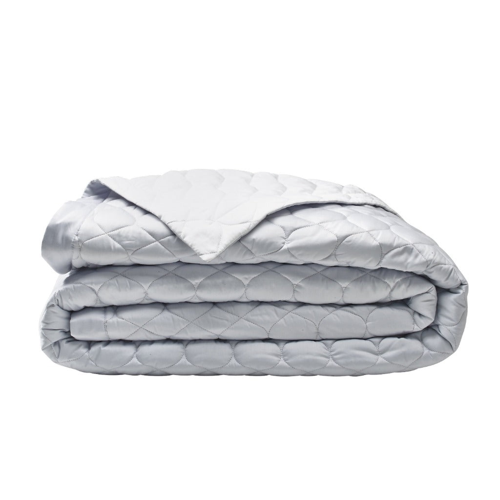 Montaigne Quilted Coverlet in Platinum