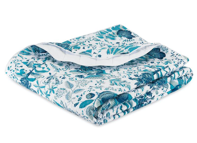 Matouk Schumacher Pomegranate Prussian Blue Quilt - Fig Linens