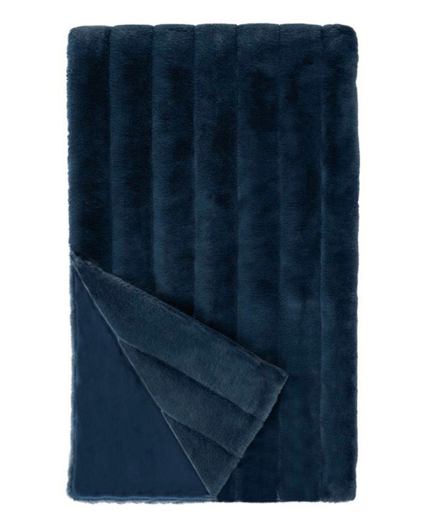 Posh Mink Dusty Blue Faux Fur Throw at Fig Linens