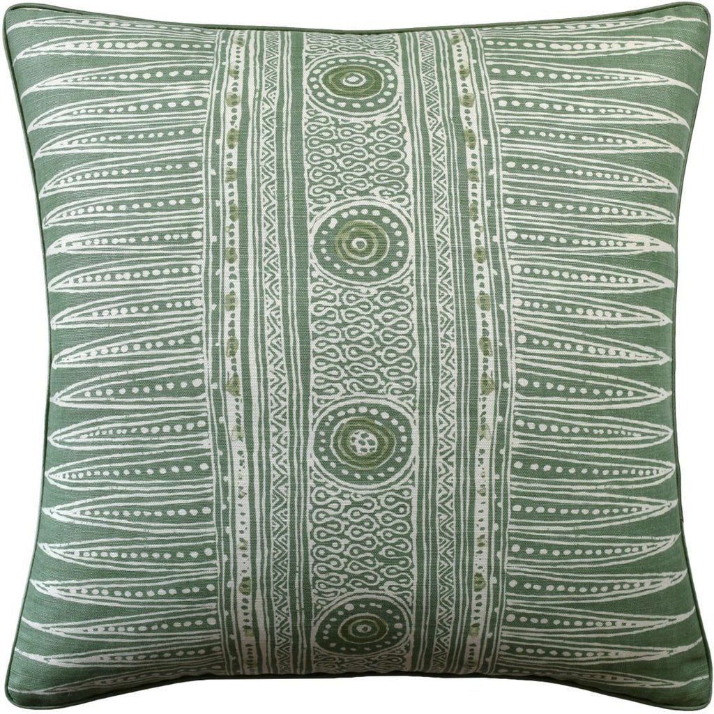 Ryan Studio Indian Zag Leaf Green Pillow - Fig Linens and Home