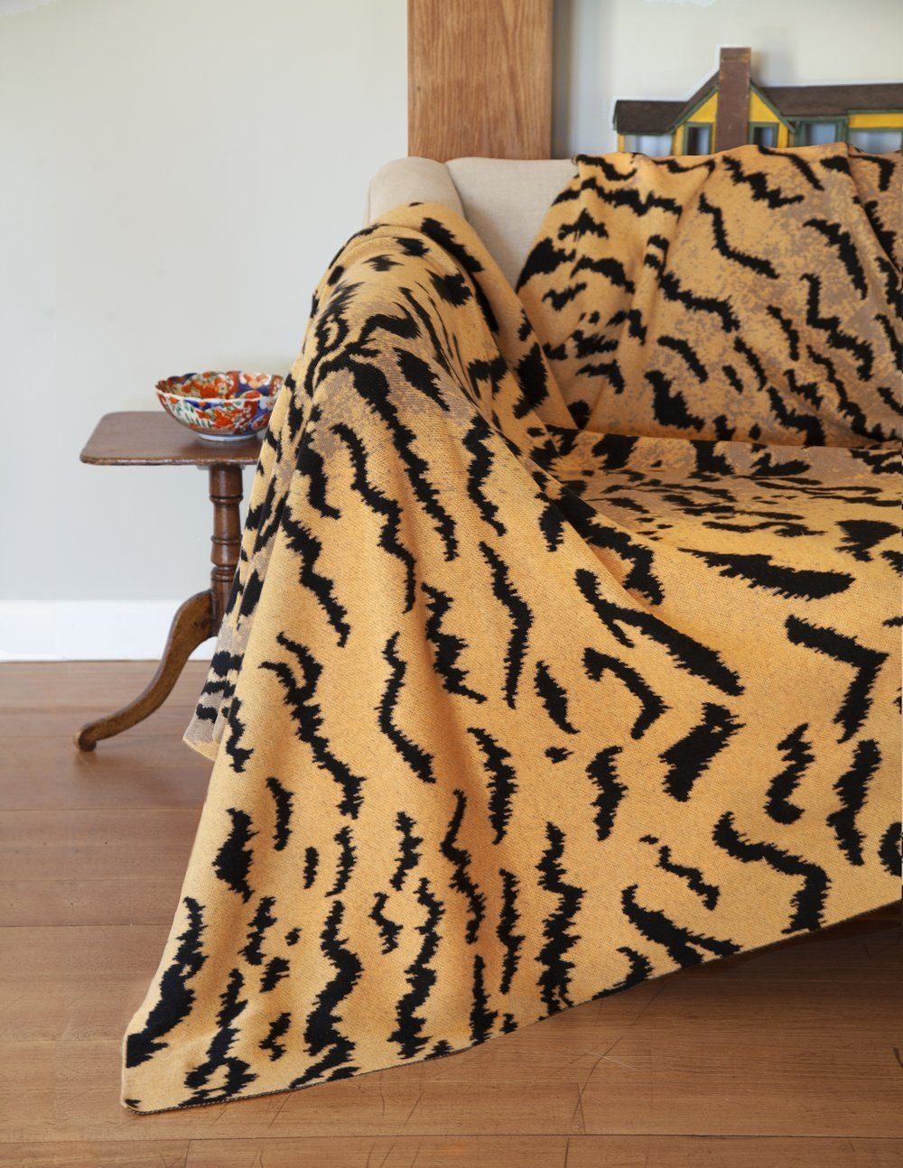 Calabria Tiger Throw - Shown on Chair - Saved NY at Fig Linens