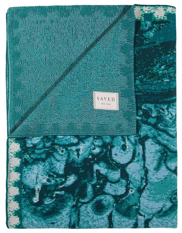 Saved New York Malachite Mirror Folded Blanket - Fig Linens
