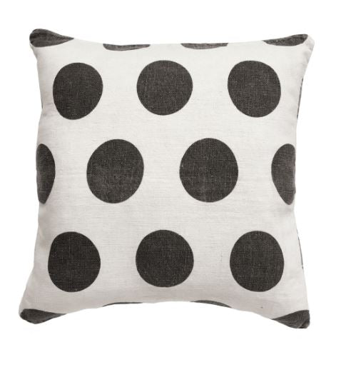 Polka Dots - Cream Linen Pillow by Sugarboo