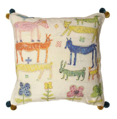 Stacked Animals Pillow (With Poms) by Sugarboo