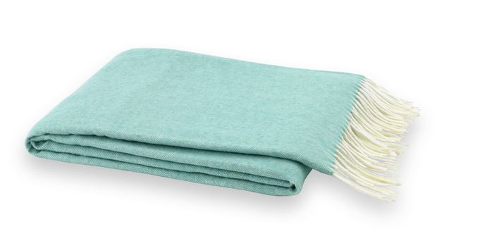 Aqua Italian Herringbone Throw by Lands Downunder - Fig Linens and Home