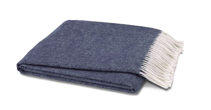 Italian Herringbone Throw Indigo by Lands Downunder