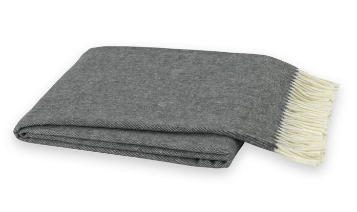 Italian Herringbone Throw Charcoal Gray by Lands Downunder