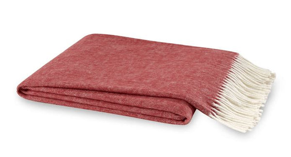 Italian Herringbone Throw Red Poppy by Lands Downunder