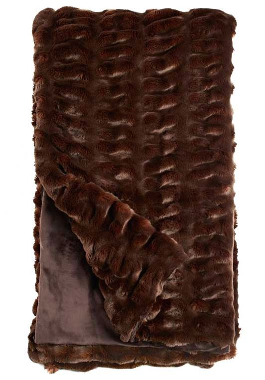 Mahogany Mink Couture Faux Fur Throw Blanket