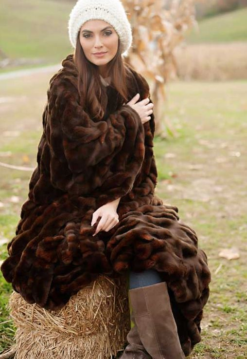 Mahogany Mink Couture Faux Fur Throw Blanket With Model