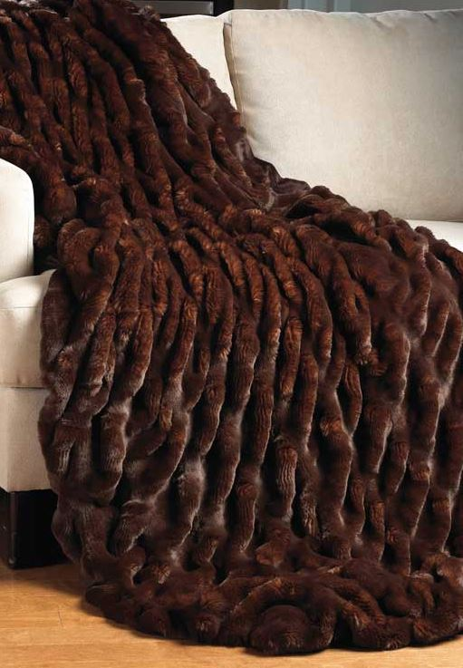 Mahogany Mink Couture Faux Fur Throw Blanket On Sofa