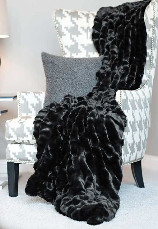 Onyx Mink Couture Faux Fur Throw Blanket On Chair