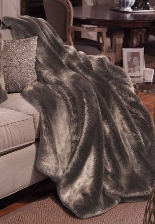 Timber Wolf Couture Faux Fur Throw Blanket On Sofa