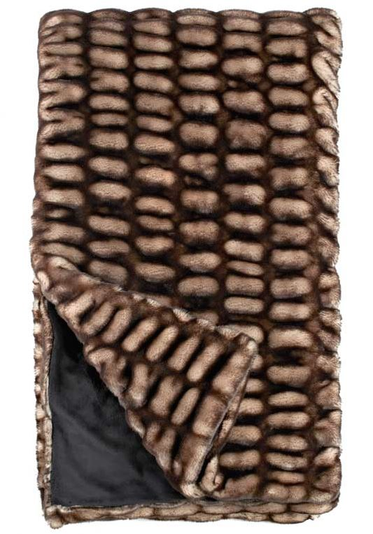 Shadow Mink Couture Faux Fur Throw Blanket