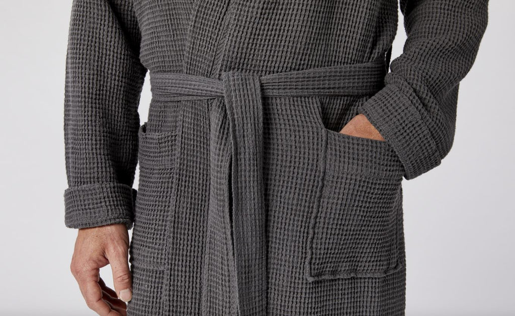 Unisex Organic Waffle Robes in Shadow Gray by Coyuchi | Fig Linens