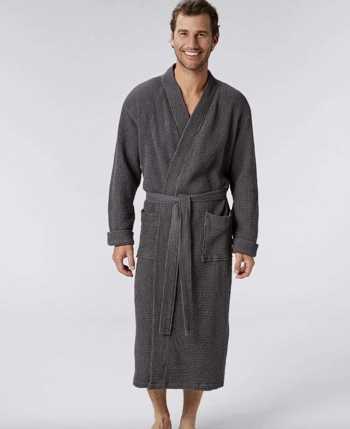 Unisex Organic Waffle Robes in Shadow by Coyuchi | Fig Linens