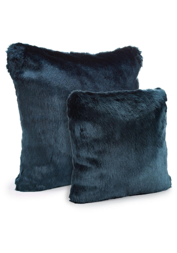 Steel Blue Mink Faux Fur Pillows Sizes