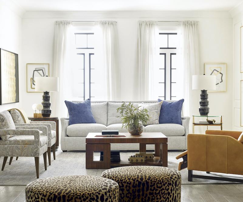 Sully Swivel Ottoman in Cattitude Onyx shown in Living Room
