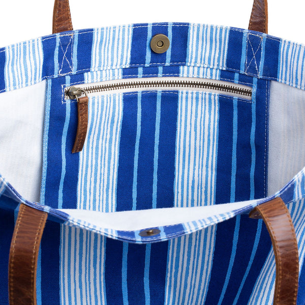 Vintage Stripe Canvas Tote Bag with interior pocket by John Robshaw | Fig Linens