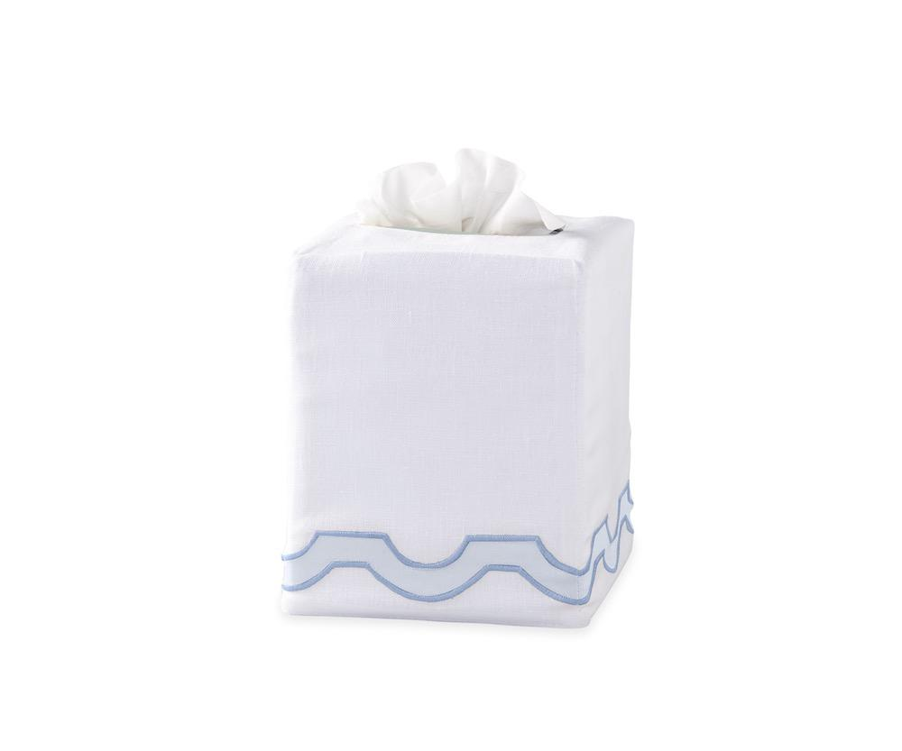 Mirasol Blue Tissue Cover | Matouk at Fig Linens
