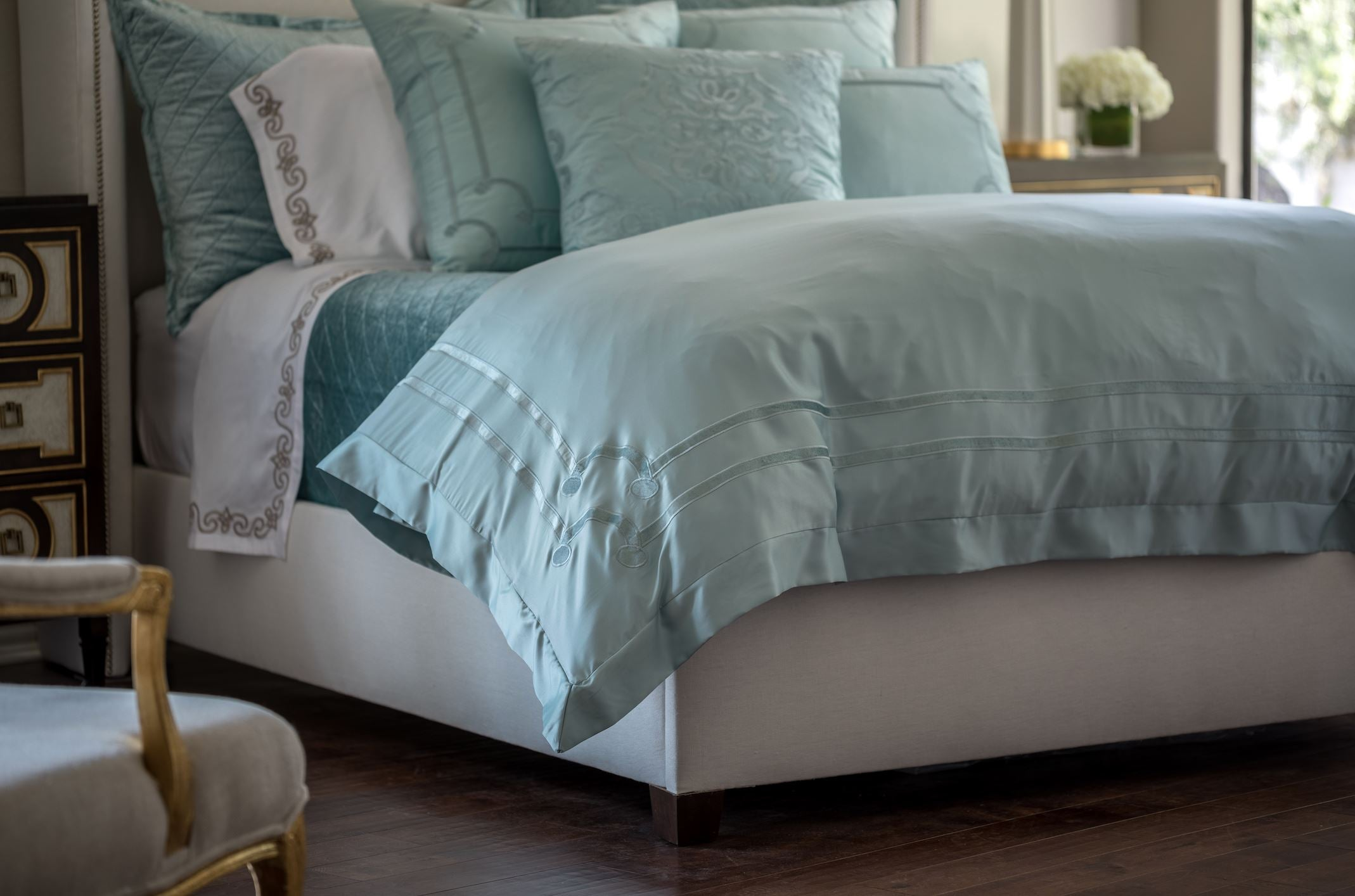 Lili Alessandra Vendome Sea Foam Duvet Detail
