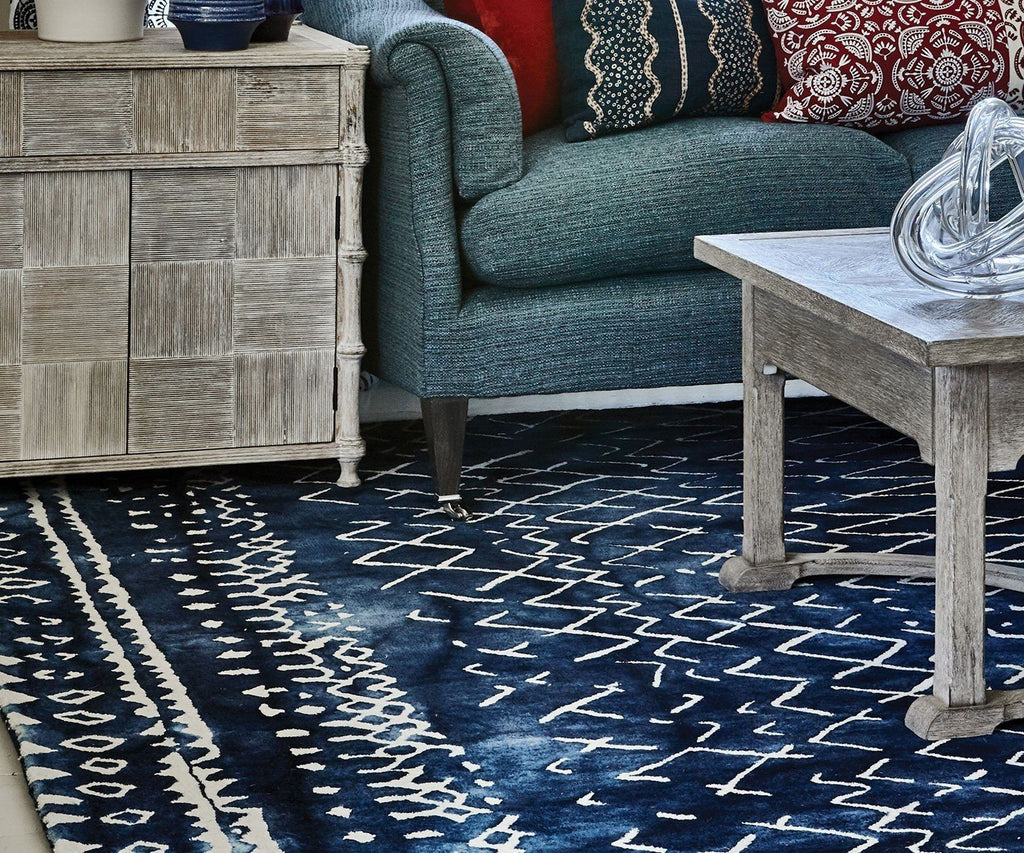 Mariah Indigo Wool Rug - William Yeoward at Fig Linens