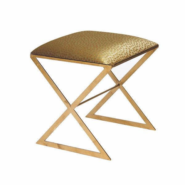 X Bench - Gold Leaf with Gold Fabric Side Stool by Worlds Away