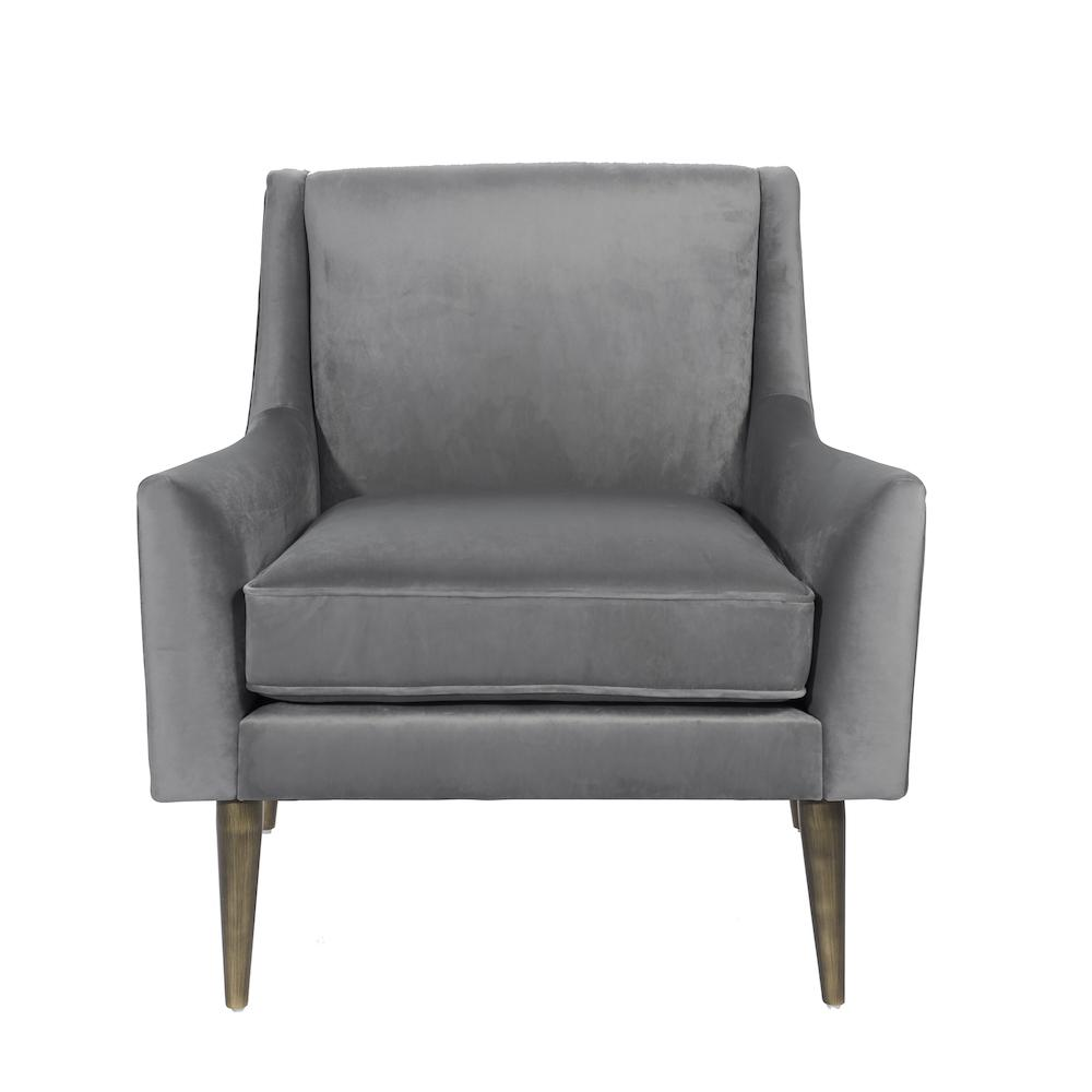 Worlds Away Wrenn Chair in Gray Velvet | Fig Linens