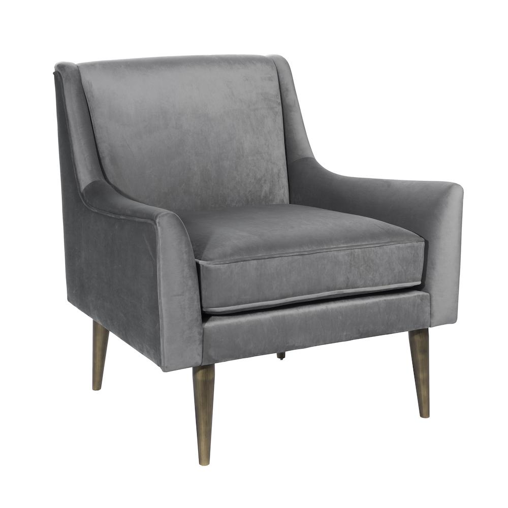 Wrenn Chair | Grey Velvet with Bronze Legs