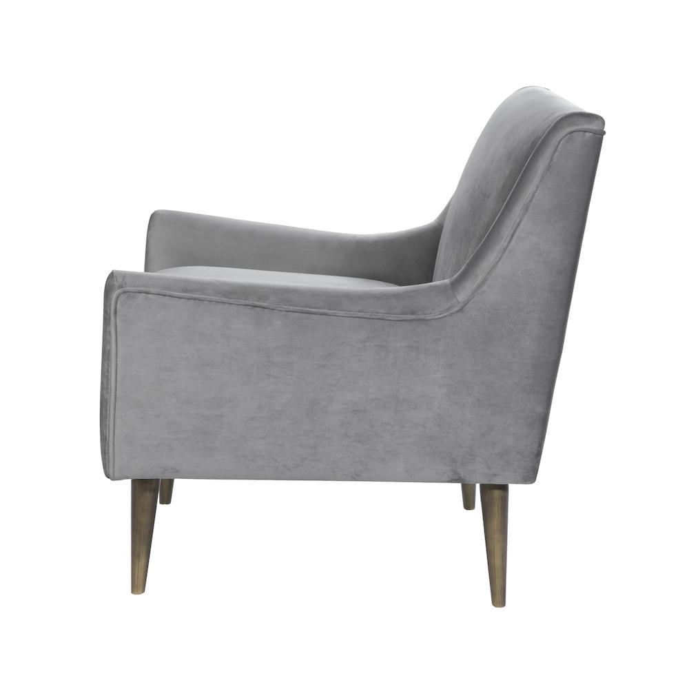 Chair | Side view of Wrenn Grey Velvet Chair with Bronze Legs by Worlds Away