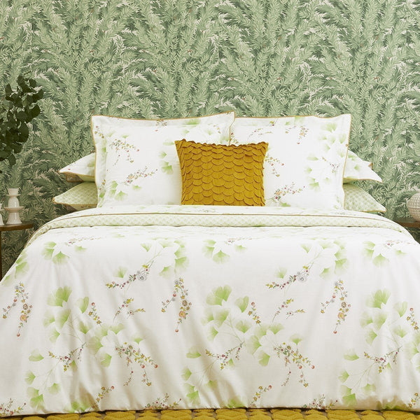 Yves Delorme Ginkgo Decorative Pillow at Fig Linens - Shown on Bedding