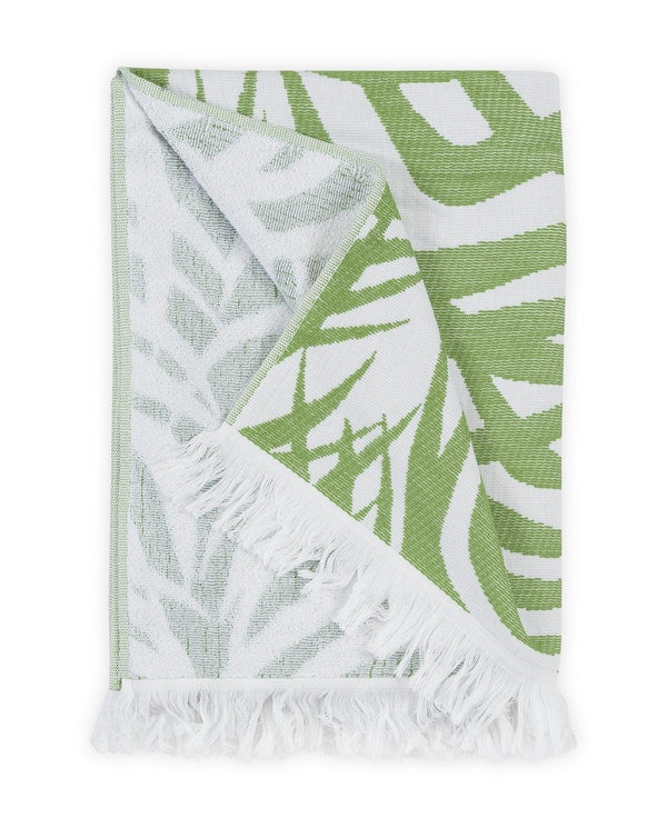 Zebra Palm Jungle Green Beach Towel | Matouk Schumacher at Fig Linens