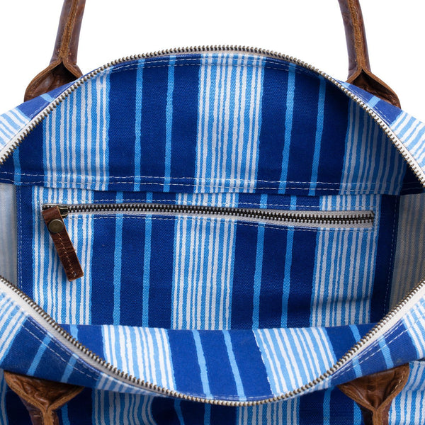 Vintage Stripe Canvas Duffle Bag with interior pockets  by John Robshaw | Fig Linens