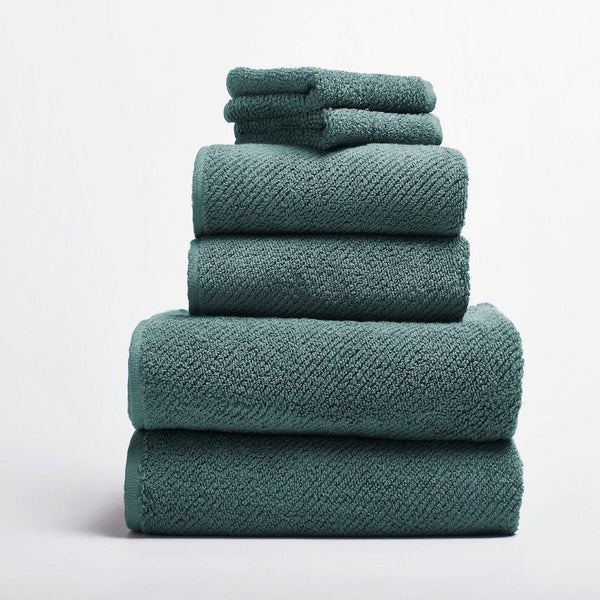 Air Weight Dusty Aqua Organic Bath Towels by Coyuchi | Fig Linens