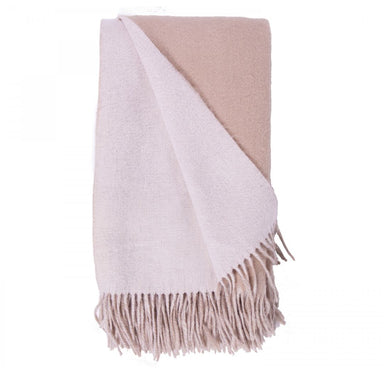 alashan cashmere and wool double-face throw - white and bisque