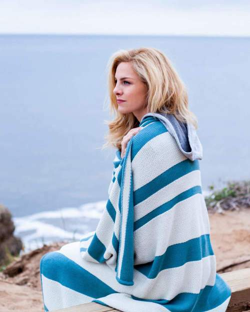 Malibu Wrap - Alicia Adams at Fig Linens - Celery and Teal - on Model