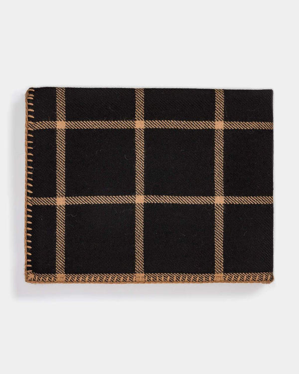 Graydon Alpaca Throw in Black and Camel by Alicia Adams  - Fig linens