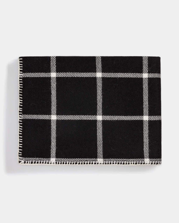 Alicia Adams Graydon Alpaca Throw in Black and Ivory - Fig Linens