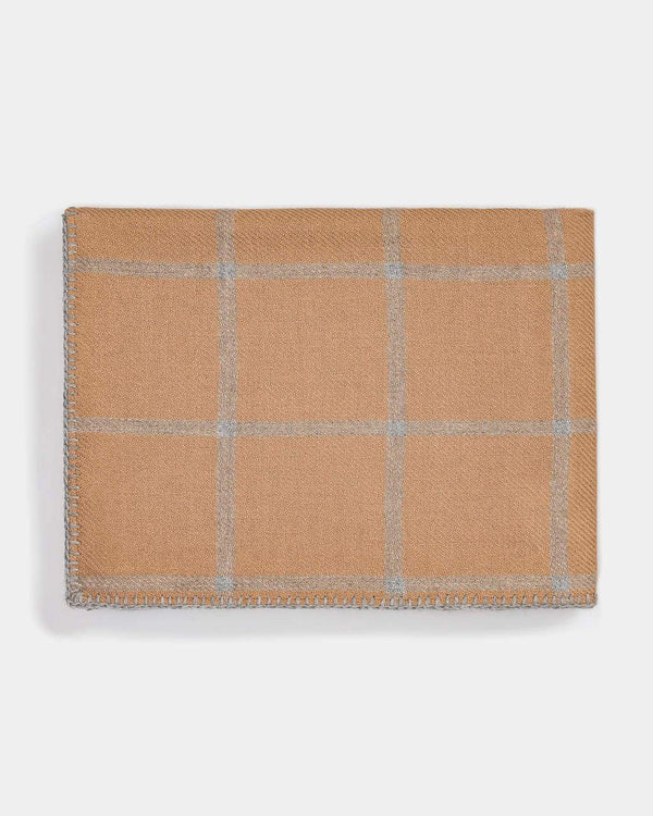 Graydon Alpaca Throw in Camel and Light Grey by Alicia Adams